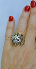 Konstantino Ring  Sz 6 Sterling Silver 18K Yellow Gold Large Exquisite New