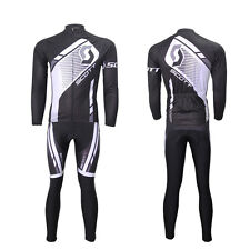 Mens Cycling Bike Long Sleeve Set Breathable Elastic Sports Bicycle Jersey Suits
