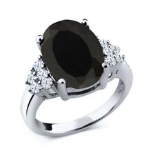 5.40 Ct Oval Black Onyx White Topaz 925 Sterling Silver Ring