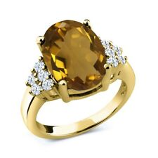 5.40 Ct Oval Whiskey Quartz White Topaz 14K Yellow Gold Ring