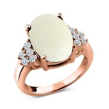 4.83 Ct Oval Cabochon White Simulated Opal White Diamond 18K Rose Gold Ring