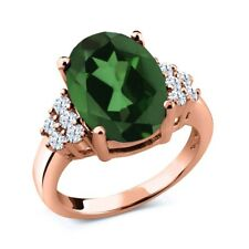 5.80 Ct Oval Envy Green Mystic Quartz 18K Rose Gold Plated Silver Ring