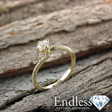 Promise Ring Size 7.5 Pave Diamond 1.17 CT VS-SI/D-F 14k Yellow Gold Enhanced