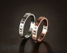 Size 6-8 Steel/RD Roman Numeral Stainless Steel CZ Ring Wedding Engagement Band