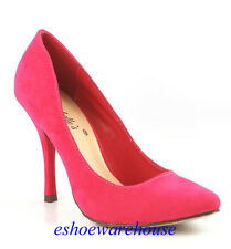 Hot Pink Faux Suede Awesome Sexy Almond Toe Stiletto Heels Pumps