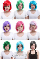 Fashion Bob Short Wigs 9 Colors Straight Halloween Party Wigs Synthenic Hair