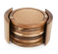 SET OF 6 ROUND ACACIA WOOD & CORK COASTER TABLE MAT WITH HOLDER TEA CUP MUG 6482