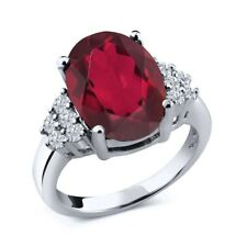 4.33 Ct Oval Red Mystic Quartz White Diamond 925 Sterling Silver Ring