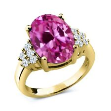 6.40 Ct Pink Created Sapphire White Topaz 18K Yellow Gold Plated Silver Ring