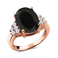 4.40 Ct Oval Black Onyx White Topaz 18K Rose Gold Plated Silver Ring