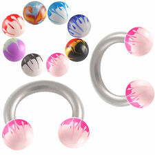 2P Hand Painted circular barbell eyebrow bar tragus ring 9PPR-SELECTION OF STYLE