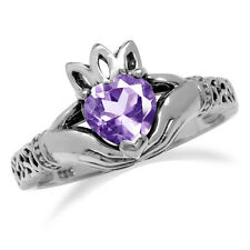 Natural Amethyst Irish Claddagh & Triquetra Celtic Knot 925 Sterling Silver Ring