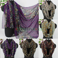 Women's Vintage Scarves Paisley Polka Dots Floral Print Long/Infinity Scarf New