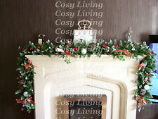 Luxury 2.7m Full Christmas Garland Swag Toadstools bows Apples Bauble 9ft LIT