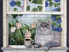 Ceramic Tile Mural Kitchen Backsplash Paterson Coffee Cat Art CPA001