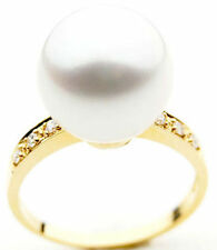 $7,499 Pacific Pearls AAA 14mm Australian south sea White pearl Diamond Ring