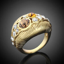 18K GP Gold-tone,Two Tone Crystal Finger Ring Size 6-8