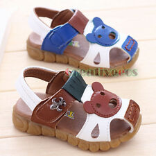 Kids Summer Leather Sandal Toddlers Boys Cartoon animals Slippers Beach Shoes