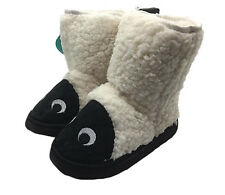 Boys Toddler Slippers Grosby Lamb Pull on Slipper Boots Black/White Size 4-12