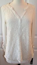 ~APT. 9~ Ivory Lace Front Roll Tab Henley Long Sleeve Blouse Size XS ~NWT