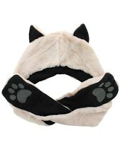Wolf Cream Faux Fur Animal Hat With Paws