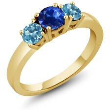 1.26 Ct Round Blue Sapphire Swiss Blue Topaz 18K Yellow Gold Plated Silver Ring