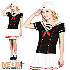 Navy Sailor Girls Military Uniform Fancy Dress Childs Nautical Costume Outfit