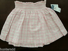 NWT Ralph Lauren Girls Smocked Pink Gingham Linen Pull On Skirt Sz 12 NEW $55
