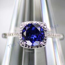 925 Sterling Created Sapphire Halo Diamond Gemstone Engagement Birthstone Ring