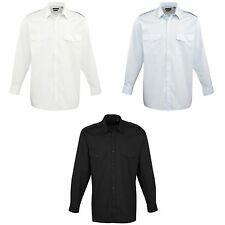 Premier Mens Long Sleeve Pilot Plain Work Shirt