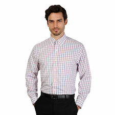 Brooks Brothers Mens Rosso Blue Small Check Slim Fit Long Sleeve Formal Shirt