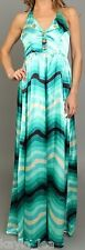 Aqua Satin Ombre Zig-Zag/Chevron Stripe Smocked Back Halter Maxi Dress