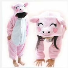 Hot sale kids Pajamas Kigurumi Unisex Cosplay Animal Costume Onesie pink pig
