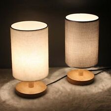 "Modern Bedside Table Desk Lamp Light Wooden Base Linen Shade 11"" Height"