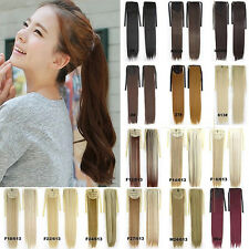 UK New Long Various Colors Ponytail Clip in Hair Extensions Long Pony Tail Hair