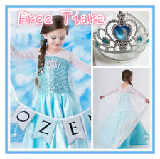 Kids Girls Elsa Christmas Party dress costume Princess Anna Dresses SIZE AGE 3-8