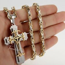 """Gold Silver Byzantine Mens Chain Stainless Steel Cross Pendant Necklace 18-36"""""""
