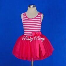 Striped Cotton Tulle Girls Dress Easter Summer Party Child Size 2-7 Years SD001
