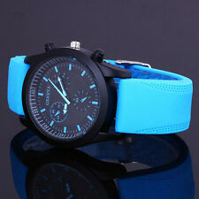 Men's Stylish Black Dial Sports Watch Rubber Strap Wrist Watch 4 Colors B88U