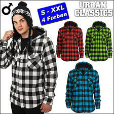 URBAN CLASSICS Hooded Checkered Flannel Shirt Lumberjack Hoodie S-XXL