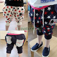 Kids Boys Girls Flag Stars Casual Trousers Toddlers Harem Pants Fit 2-7Years New