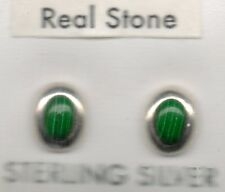 new real sterling silver 925 round oval stud earrings green moss malachite Jade