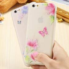 Luminous Bling Rhinestone Girly Butterflies Flower Clear Cover Case For iPhone