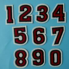 Red Diy Number 0 - 9 Iron on Sew Patch Applique Embroidered School Sports Team.
