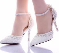 Womens Pointed Toe Pearls Ankle Strap Bridal Wedding Shoes High Heel Stilettos 6