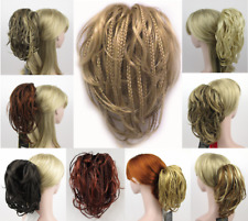 SHORT TINY BRAIDS BRAIDED STRAIGHT WAVY HAIR PONYTAIL HAIRPIECE CLAW CLIP BALALA