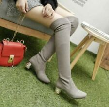 Womens Block Heels Faux Suede Shoes Knee High Boots Pull On Winter Slouch Size