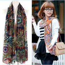 Women's Lady Chiffon Print Silk Long Neck Scarf Shawl Scarves Stole Wraps NEW h