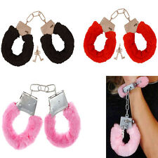 Furry Fuzzy Costume Handcuffs Metal Wrist Cuffs Soft Fur Bachelorette Party Game