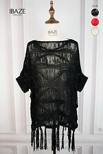 Beautiful Knit Crochet Fringes Short Sleeves Blouse Top